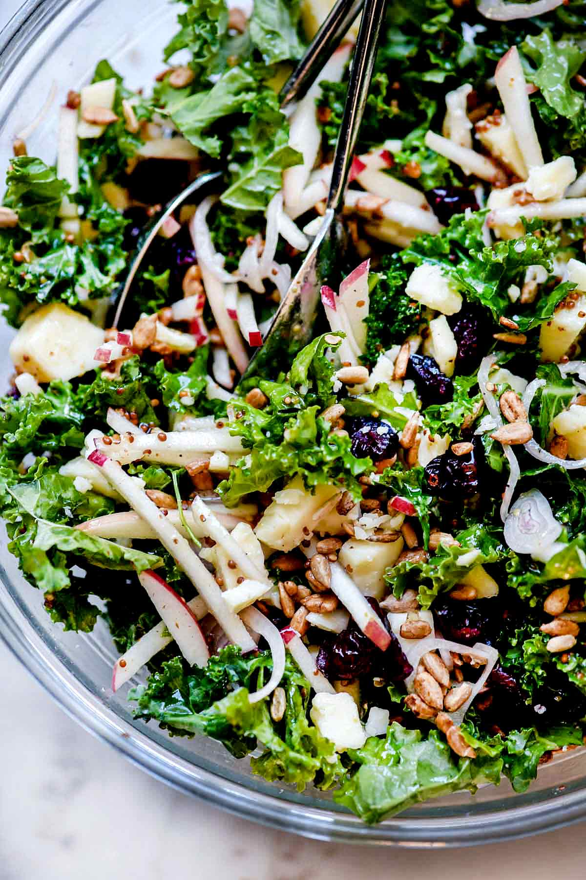 Kale Salad with Cranberries, Apple, and Cheddar Cheese