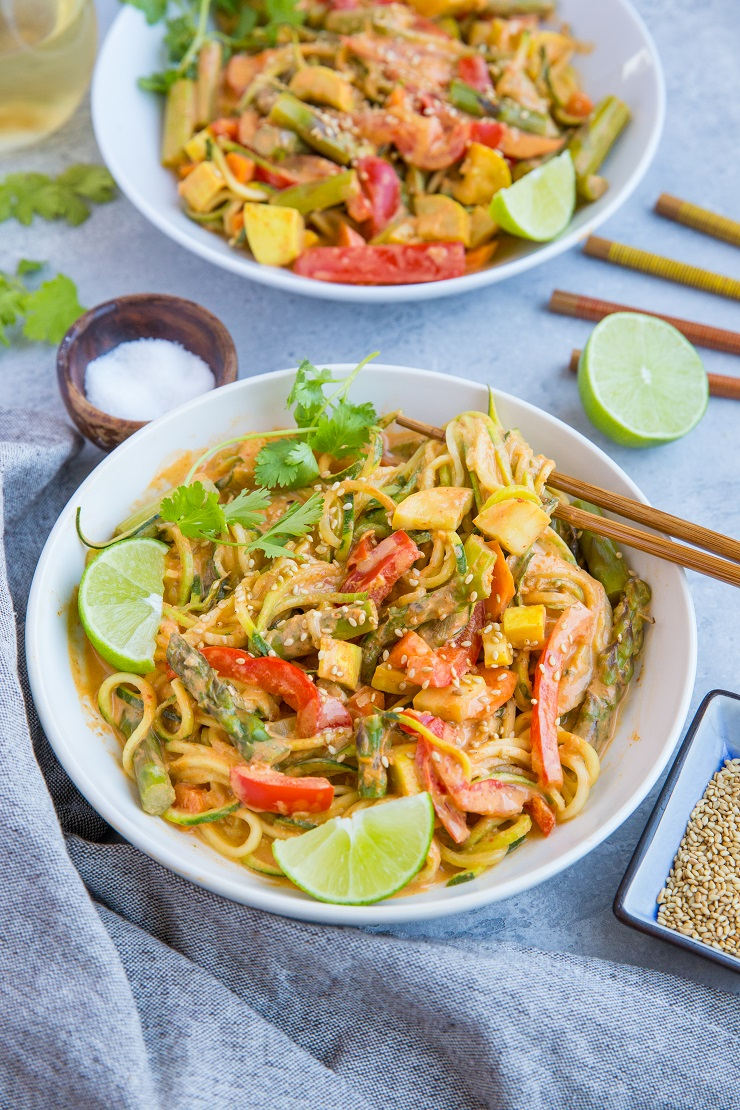 Vegan Red Curry Zucchini Noodle Bowls